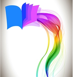 Abstract colorful background book icon and wave vector