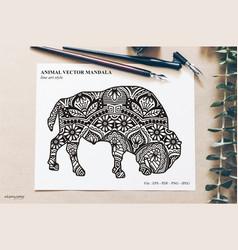 Animal mandala line art style vector