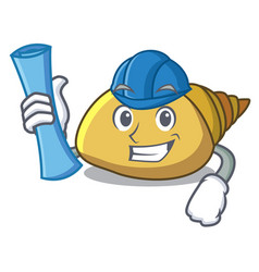 Architect mollusk shell character cartoon vector