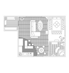 architectural color floor plan detailed apartment vector image