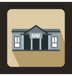 Bank building icon in flat style vector image