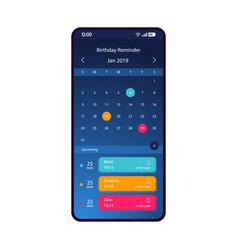 Birthday reminder smartphone interface template vector