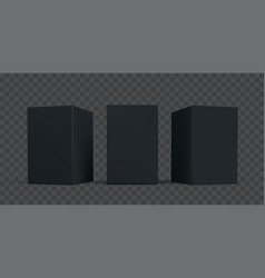 black carton box package mock-up set isolated 3d vector image