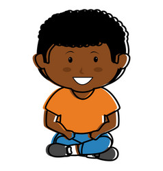 black little boy seated character vector image