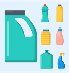 bottles household chemicals supplies cleaning vector image