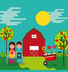 Boy and girl gardeners vector
