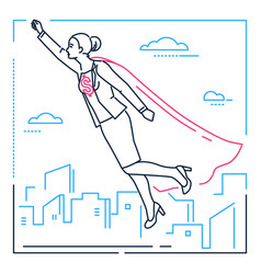businesswoman with a super power - line design vector image