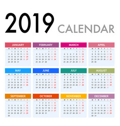 Calendar for 2019 on white background week starts vector