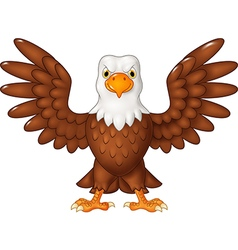 Cartoon bald eagle standing with wings extended vector image