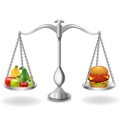 cartoon fruits and hamburger balance on the scale vector image