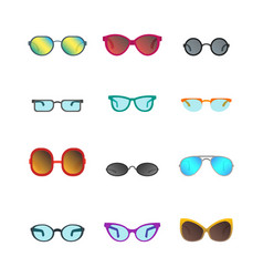 Cartoon glasses and sunglasses color icons set vector
