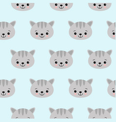 cat pattern with cute cartoon cat faces seamless vector image