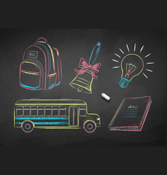 chalk drawn education items vector image