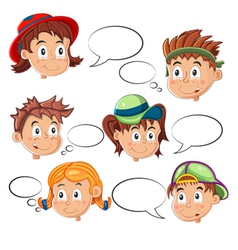 Children Faces with Speech Bubbles vector