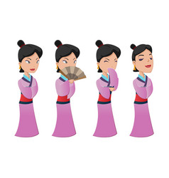 China woman people character set vector