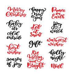 christmas lettering set isolated vector image