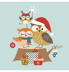 Christmas owl family vector