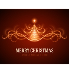 Christmas tree from light lines background vector image