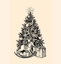 christmas tree gifts vector image