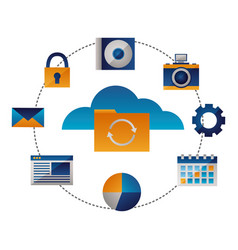 cloud computing folder reload items vector image