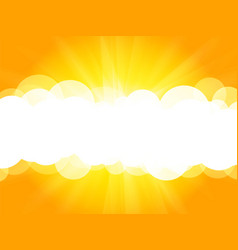 clouds yellow background with rays vector image