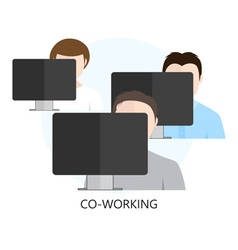 Co-working Icon with Three Workplaces vector
