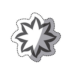 contour flower with pointed petals icon vector image
