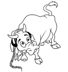 Cow with headphones vector