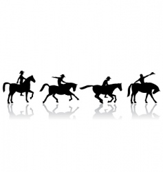 Cowboy and horse silhouettes vector