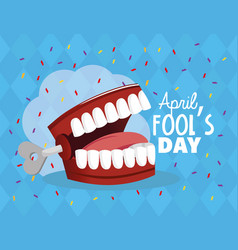 Crazy teeth to fools day celebration vector