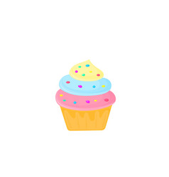cupcake sweet food dessert isolated on white vector image