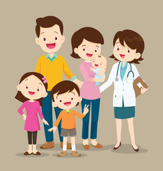 cute family with baand woman doctor vector image