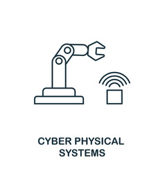 cyber physical systems icon thin line style vector image