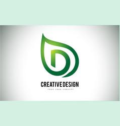 D leaf logo letter design with green leaf outline vector