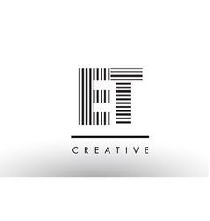 Et e t black and white lines letter logo design vector