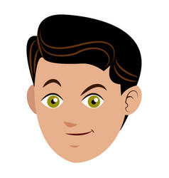 Face boy young happy expression vector