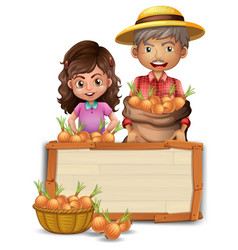 farmer holding onion on wooden board vector image