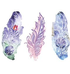 Feather on raster watercolor background vector