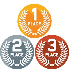 First second and third place badges vector