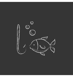 Fish with hook Drawn in chalk icon vector
