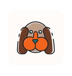 Flat color dog head icon vector