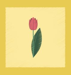 Flat shading style plant tulipa vector