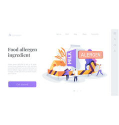 Food allergy landing page concept vector