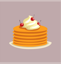 fresh tasty pancakes with whipped cream and vector image
