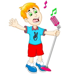 funny little boy cartoon singing vector image