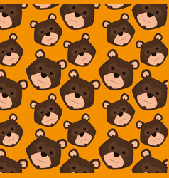 grizzly bear heads pattern background vector image