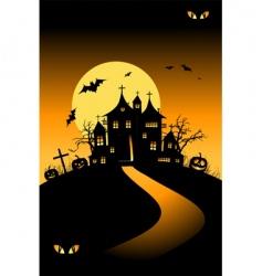 halloween house on hill vector image