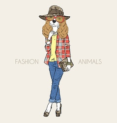 Hand drawn of fashion doggy girl vector