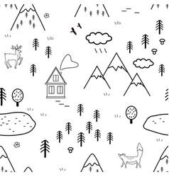 Hand drawn scandinavian landscape with animals vector