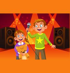 Happy children singing vector